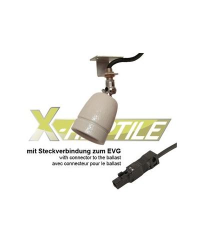 Keramikfassung E27 <strong>mit Aluwinkel und Gelenk - Steckverb.